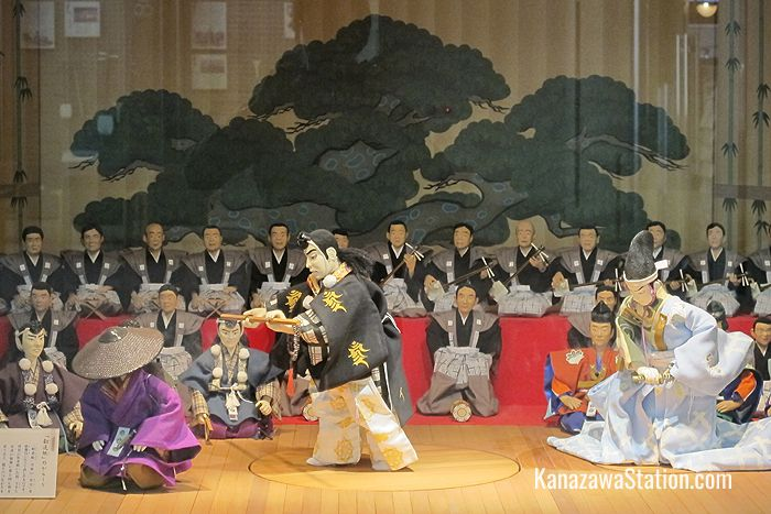 This kabuki puppet display on the 1st floor has a turntable and recorded sound