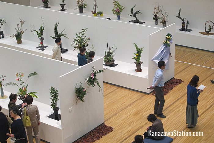 An ikebana flower arrangement exhibition in the Koryu Hall