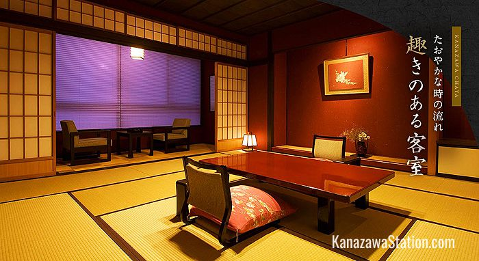 Exquisitely decorated Japanese style room at Kanazawa Chaya