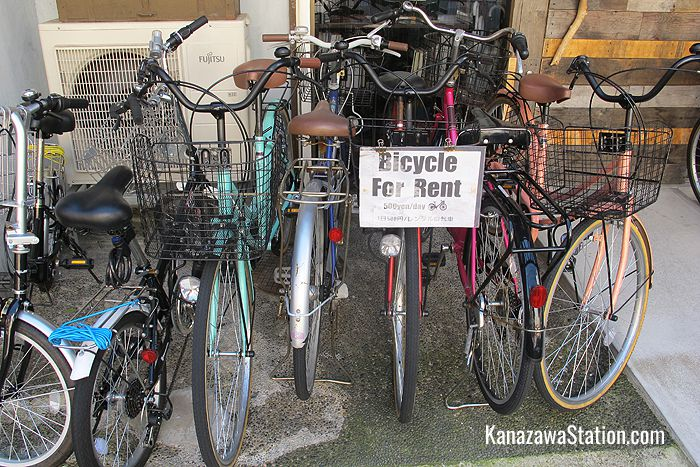 Bicycles can be rented from the hostel for 500 yen a day