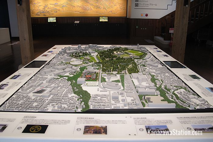 A diorama of Kanazawa in the museum entrance hall