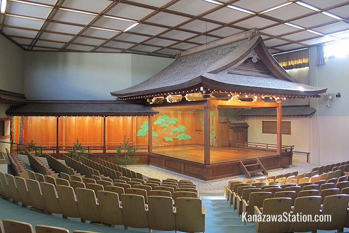 The Noh theatre stage was built from cypress wood 84 years ago