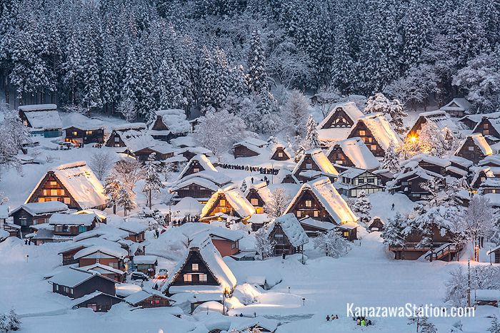 Traditional farmhouses in Shirakawa-go in the winter
