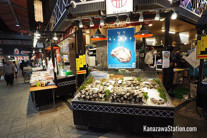 Fresh oysters for sale at Omicho Ichiba market
