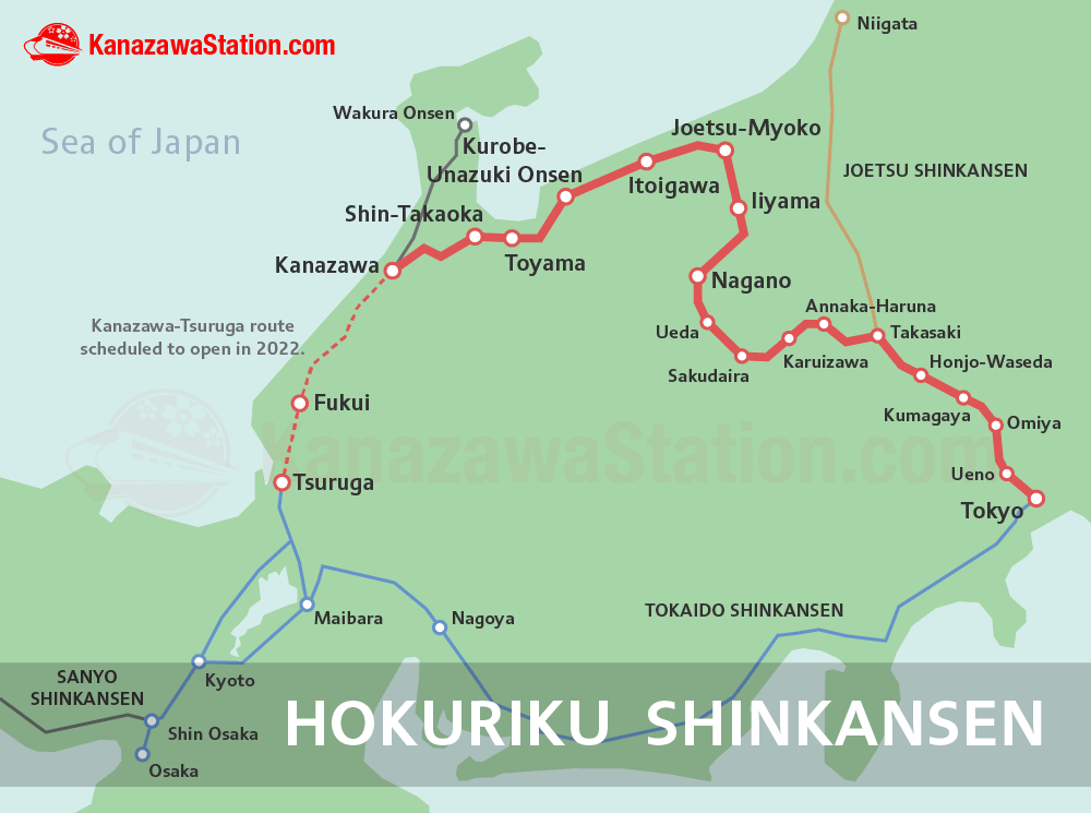 The Hokuriku Shinkansen for Kanazawa, Toyama, Nagano & Tokyo ... on osaka train map, shinjuku train map, chiba train map, tokushima train map, la train map, osaka subway map, glasgow train map, zurich airport train map, cape town train map, saitama train map, train station map, kanagawa train map, nara train map, new jersey transit train map, beijing train map, hokkaido train map, sasebo train map, london train map, sendai train map, tokyo train map,