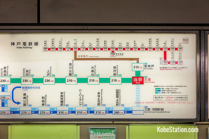 A fare chart above the ticket machines at Sannomiya Station