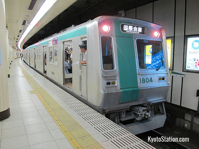 A Karasuma Subway Line train bound for Kokusaikaikan Station