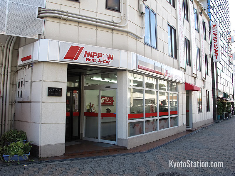 A Nippon Rent-A-Car office is located across from Kyoto Station's Hachijo-guchi exit