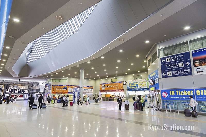 Kansai Airport transport ticket counters on the arrivals level