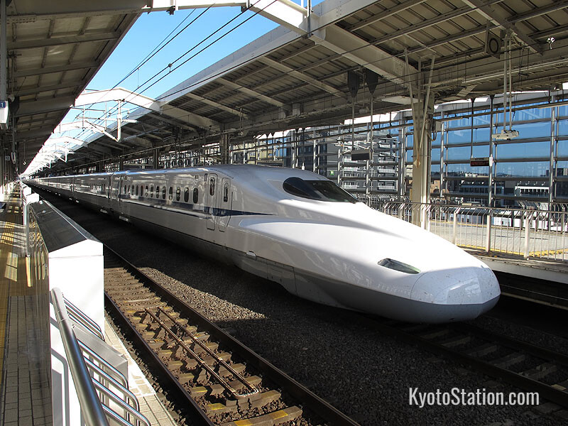 A shinkansen bullet train bound for Shin-Osaka Station