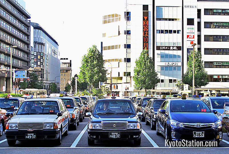 The taxi rank on the north side of Kyoto Station