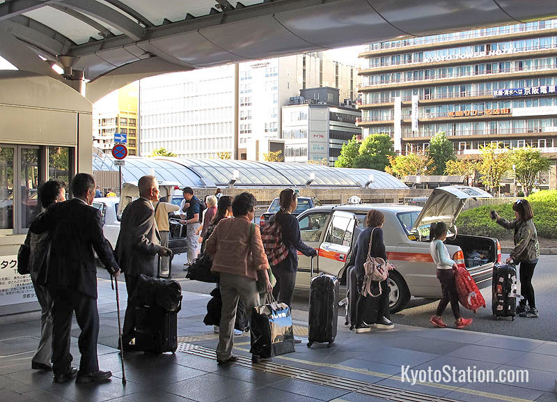 Waiting for a taxi at Kyoto Station