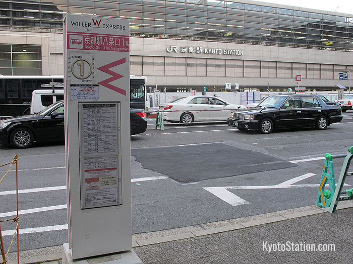 A Willer Express bus stop at Kyoto Station