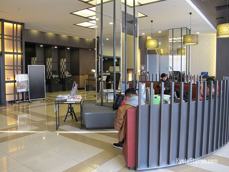 The hotel lobby and front desk