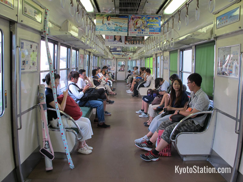 On board a local train on the Keihan Main Line