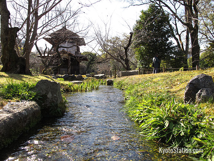 A brook leading to the Bokakaku ornamental gate at The Shosei-en Garden