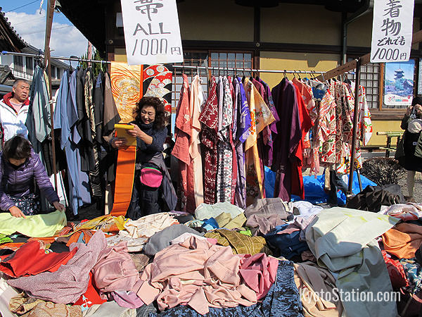 Among the second hand clothes stalls you might find some kimonos