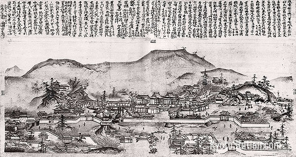 An ink painting of the Tofukuji temple complex attributed to Sesshu Toyo (1420 - 1506)