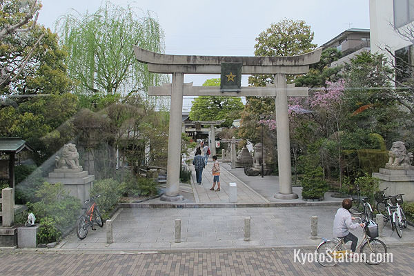 Flying past Seimei-jinja – a shrine dedicated to the mystical geomancer Abe no Seimei