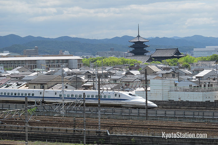 A shinkansen passing Toji Temple viewed from the museum's Sky Terrace