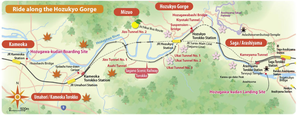 Sagano Scenic Railway Map
