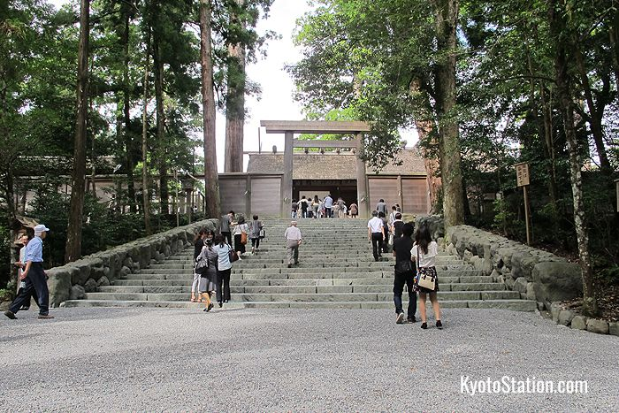 The entrance to the main building at Ise Jingu's Naiku. Photography of the building itself is forbidden