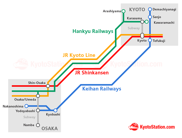 Kyoto to Osaka Transportation Map