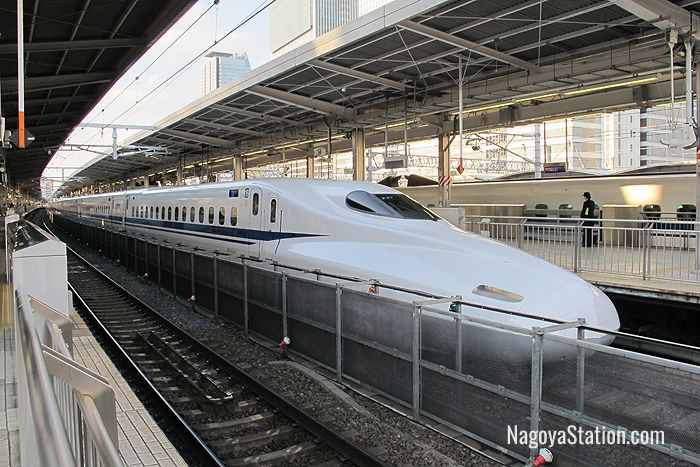 A shinkansen train at Nagoya Station
