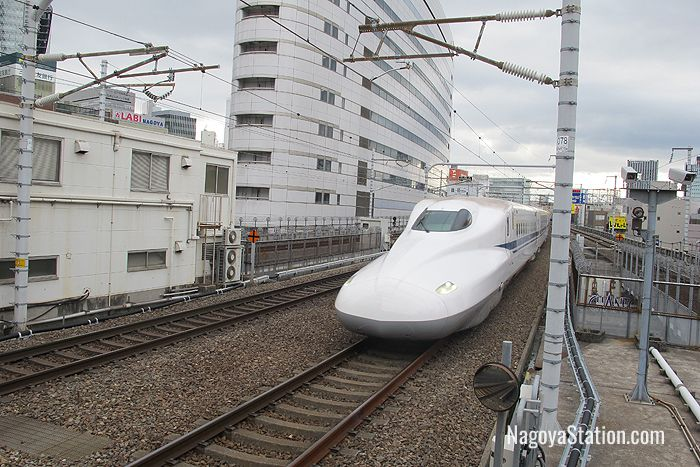 A shinkansen train approaching Nagoya Station