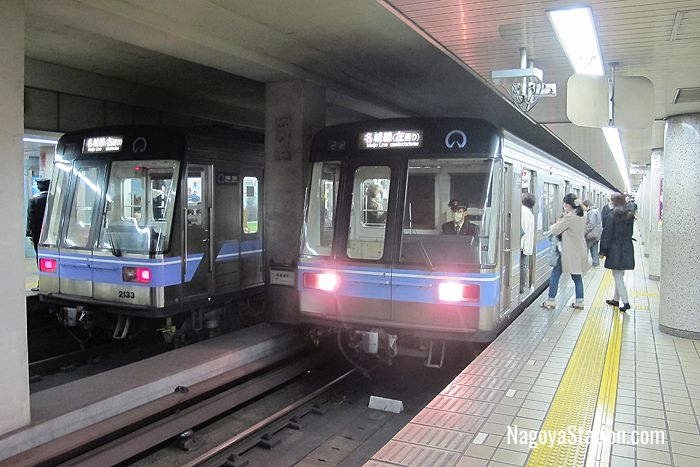 Two trains on the Meijo Line