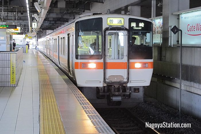 A local train for Okazaki at Platform 1, Nagoya Station