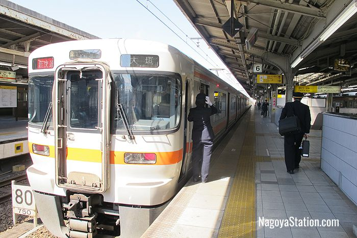 A Special Rapid train for Ogaki at Platform 6, Nagoya Station