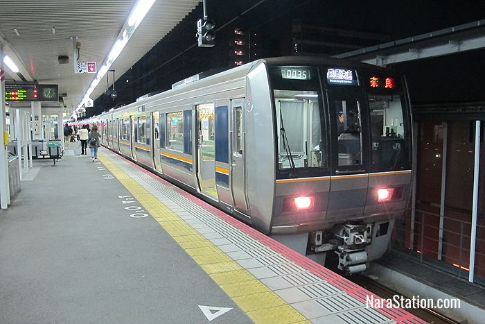 A Direct Rapid Service from Amagasaki at JR Nara Station's Platform 5