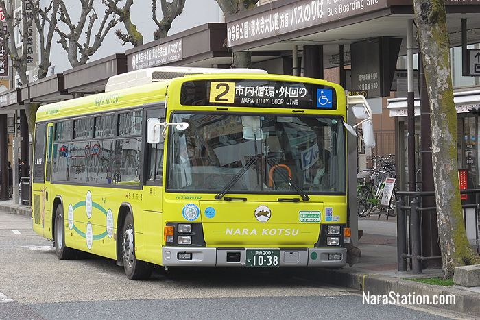 The number #2 bus service at bus stop 1, Kintetsu Nara Station