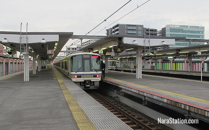 The platforms at JR Nara Station