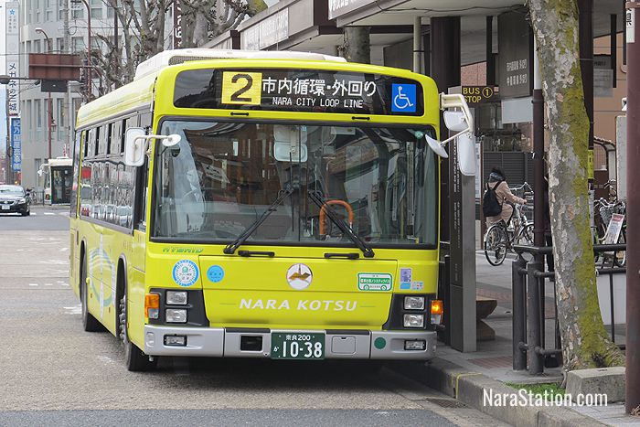 The clockwise #2 service at bus stop 1 outside Kintetsu Nara Station