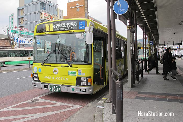 The anti-clockwise #1 service at bus stop 9 outside Kintetsu Nara Station