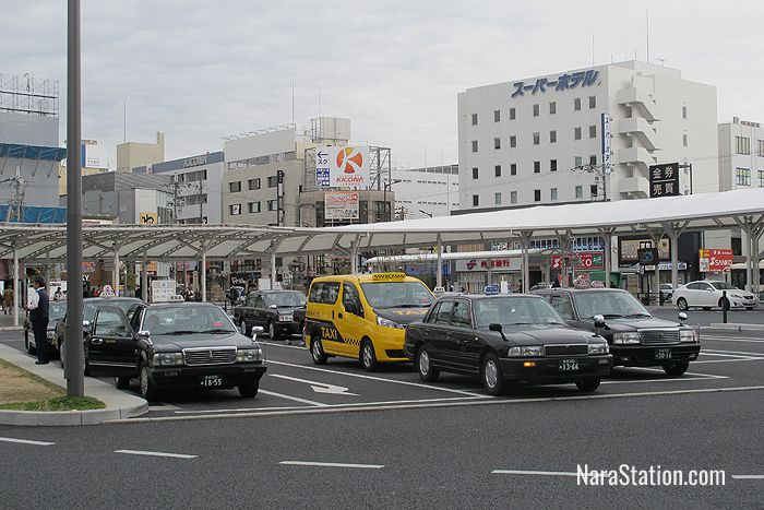 Taxis on the east side of JR Nara Station