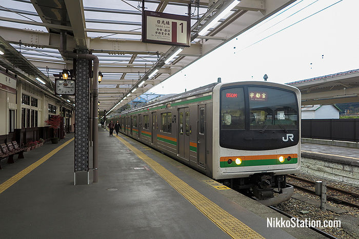 A local train at JR Nikko Station bound for Utsunomiya