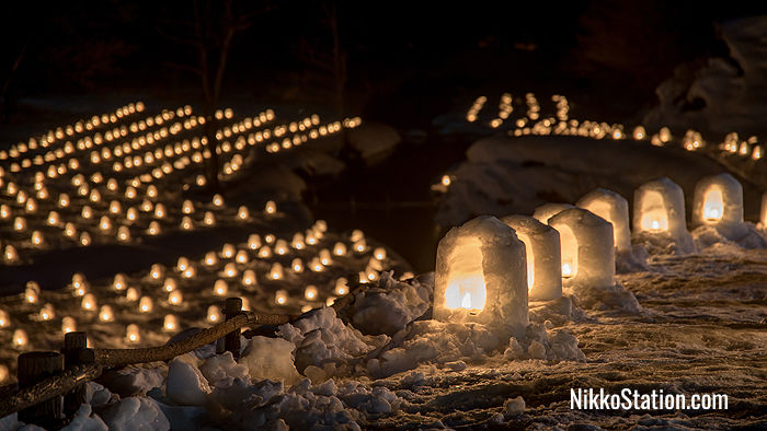 Illuminated snow huts at the Yunishigawa Kamakura Festival