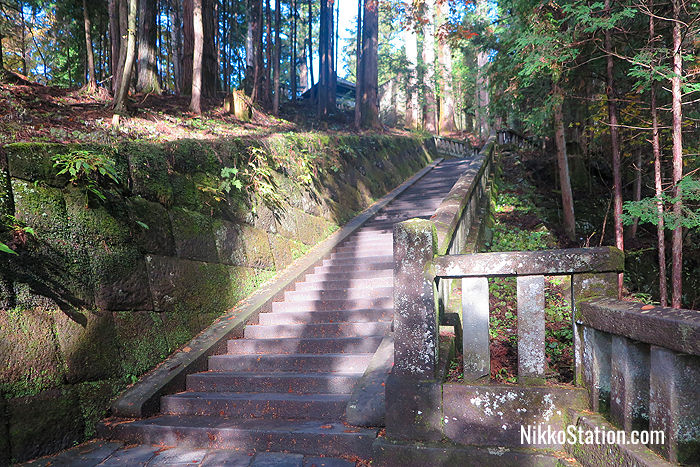 The stone steps to the Inner Shrine of Toshogu