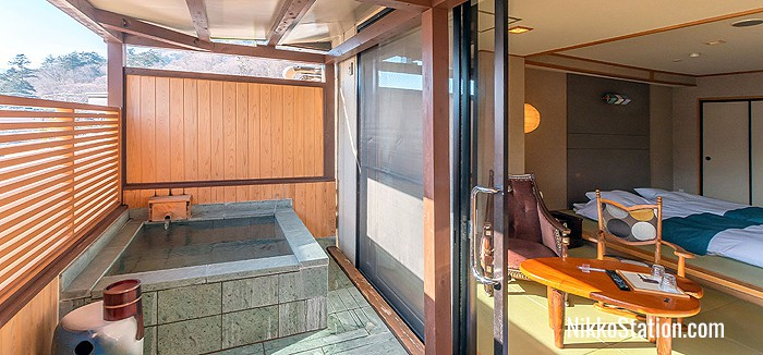Japanese style room with open-air hot spring bath
