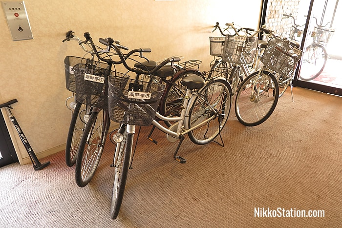 Bicycles can be borrowed for free from the hotel