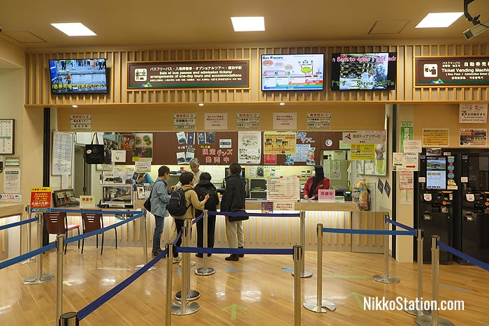 The information counter for bus passes, tours, and accommodation