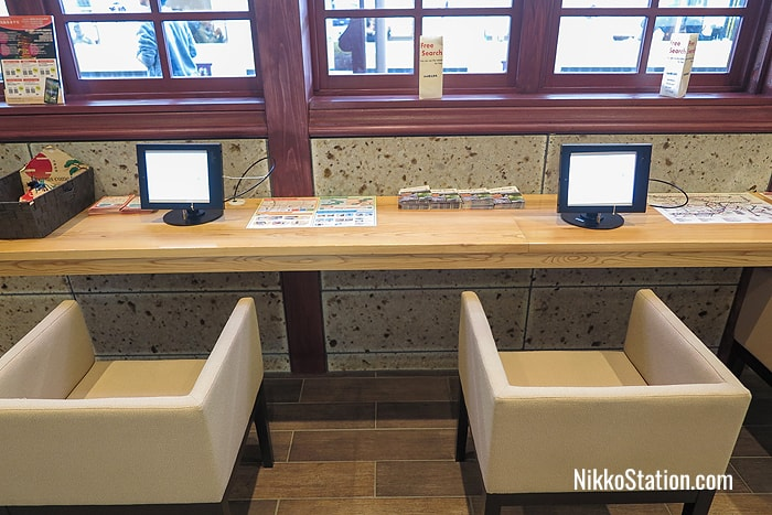Touch screen tablets at JR Nikko's Tourist Information Center
