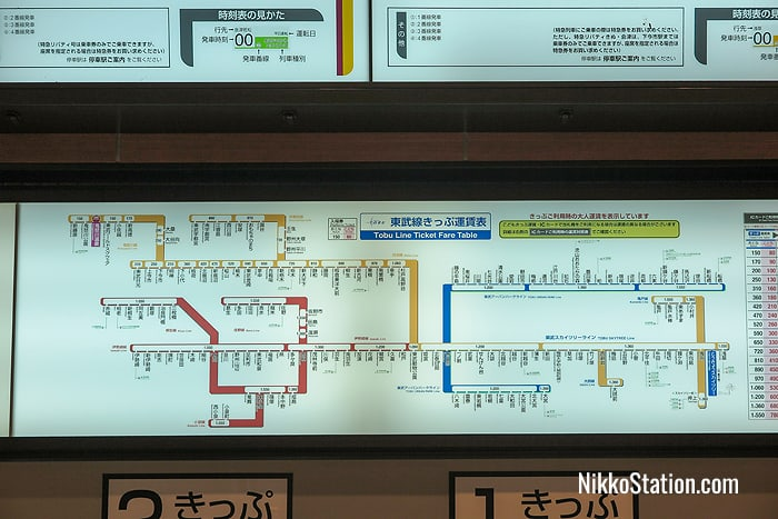 The fare chart above the ticket machines