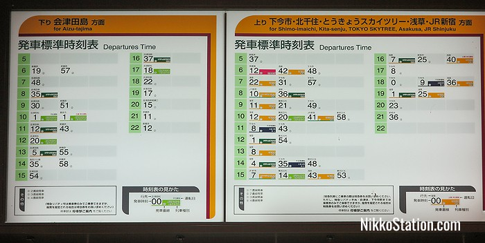 The timetables above the fare chart