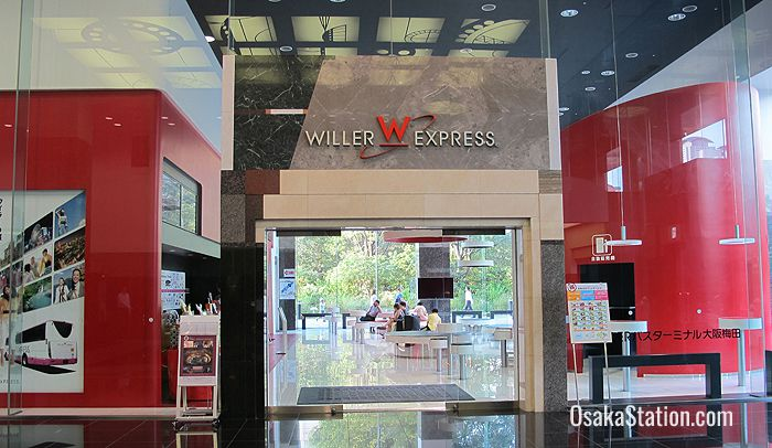 The entrance to the Willer Express office and waiting room at the Umeda Sky Building