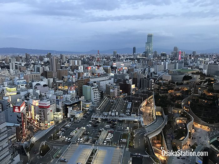 A view of Nankai Namba station and Namba Parks from the Swissotel Nankai Osaka hotel