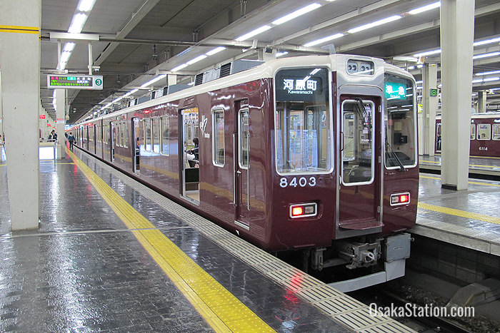 A train bound for Kyoto's Kawaramachi Station at Hankyu Umeda Station